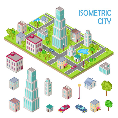 Elements of urban landscape. Isometric projection vectors. House, skyscraper, store, shop, school, tree, car, lantern illustrations Variety storey buildings For gaming environment app infographic