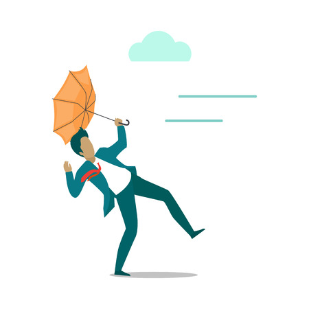 Strong wind blowing on man with umbrella and turned it out. Natural disaster. Deadly strong wind . Vector illustration Illustration