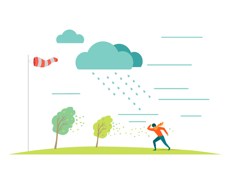 rain storm: Bad or stormy weather vector concept. Flat design. Man in scarf moving against the strong wind in the rain, storm blowing trees leaves, windsock on pole shows wind direction. For weather concepts Illustration