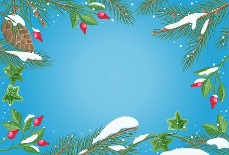 Vector frame with sweetbrier, pine tree brunches with snow on sides and blue gradient copyspace in the middle. Flat style. Celebrating winter holidays. For Christmas and New Year greeting cards design