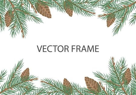 pine decoration: Vector frame with pine tree brunches, cones and copyspace. Flat style. Evergreen tree decoration. Celebrating winter holidays. For Christmas and New Year greeting cards, seasonal advertising design Illustration