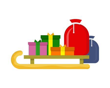 Christmas presents on the sledge . Toboggan with gift boxes. New Year and Xmas concept. Sleigh carrying cadeaus. Vector Illustration