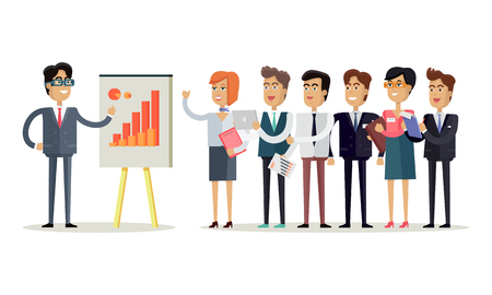 office presentation: Team work concept vector in flat style. Office workers standing in a row in front of the head, which shows indexes on the board. Business presentation. Illustration for corporate ad, infographics.