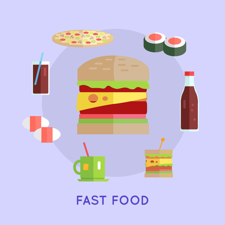 food and beverage: Fast food vector concept in flat style. Street food concept. Hamburger, pizza, tea, sushi, cheeseburger, beverage illustrations for cafe, snack bar, food delivery ad, prints, logo menu design