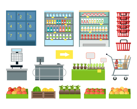 grocery shelves: Set of supermarket furniture and equipment vector. Flat design. Shelves, freezer, lockers, scales, cash, showcase, cart, basket, trolley boxes with food illustrations Assortment in grocery store