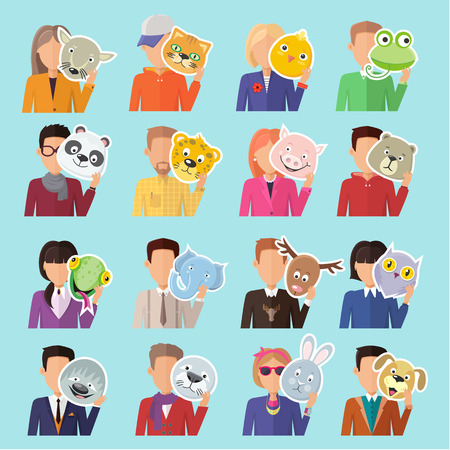 masquerade masks: Set of different people with various animal masks in hand vector. Flat design. Masquerade animal clothing and party costume. Psychological portrait and hidden personality. Isolated on blue background Illustration