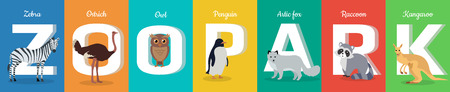 naming: Zoo park  ABC concept. Flat style. Horizontal banner with zebra, ostrich, owl. penguin, fox, raccoon, kangaroo. Animals standing at the beginning letters of their names. For childrens textbooks