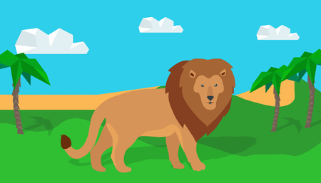frisky: Funny lion in savanna. Lion king illustration. Lion walking on grass on savannah landscape. Animal adorable lion vector character. Natural landscape with desert and palm trees. Wildlife character