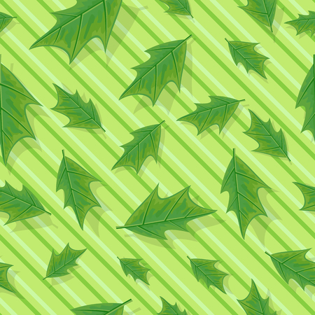 defoliation: Leaves vector seamless pattern. Flat style illustration. Falling green tree leaves on striped background. Autumn defoliation. For wrapping paper, greeting card, invitation, printing materials design Illustration