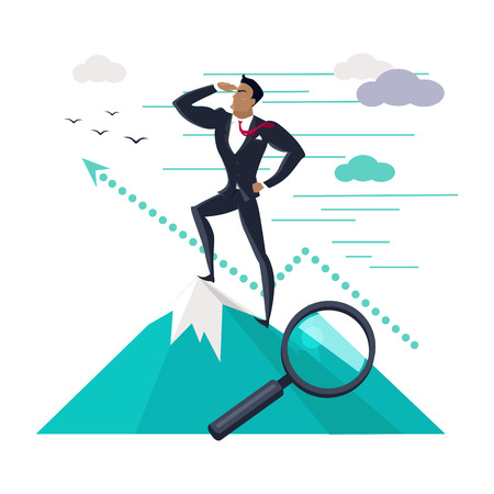 successful businessman: Businessman searching for promising opportunities. Successful young businessman standing on top of mountain and look into the distance. Business winner. Conceptual business idea, banner poster in flat Illustration