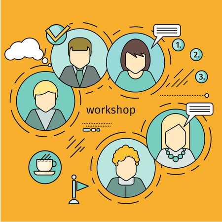 executive women: Workshop horizontal vector concept in flat style. Self development, personal qualifying training. Illustration for educational companies, career courses advertising, web page design