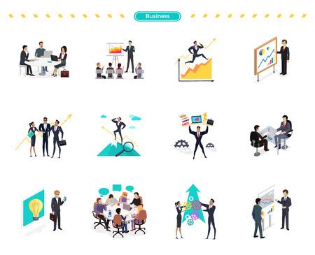 Conjunto de trabajo en equipo de la bandera de negocio y solución. hombre de negocios de éxito la búsqueda de oppotrunities, apoyo profesional, el conocimiento y el trabajo en equipo, solución de negocio, gestión estratégica, recursos humanos