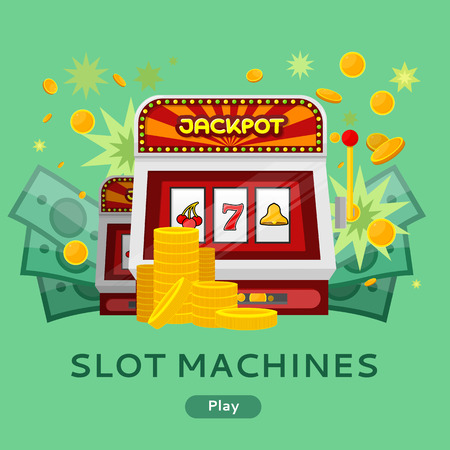 machines: Casino gambling website template. Chips stacks, slot machines and money on green background. Banner for online casino. Jackpot concept. Vector illustration. Casino background Illustration