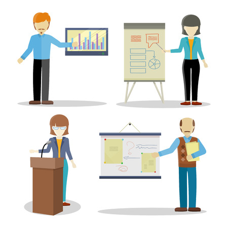 lectures: Collection of lectures character vectors. Flat design. Woman and man personages holding business seminar. Certification training in office. Illustration for educational companies, career courses ad. Illustration