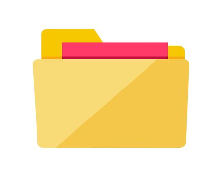 information  isolated: Folder icon isolated on white. Yellow web folder sign with documents. Interface of button for data storage. Multimedia archive. Information saver. Folder for web documents. Vector in flat style design