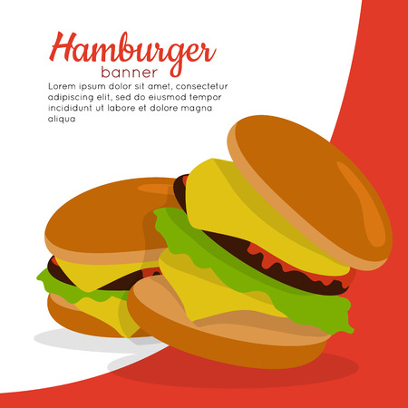 meat diet: Gamburger banner. Hamburger with meat lettuce cheese onion and tomato. Junk food. Consumption of high calories nourishment fast food. Part of series of promotion healthy diet and good fit. Vector