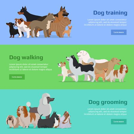 Dog training, dog walking, dog grooming banners set. Long haired dog breeds of different size. Sportive and athletics ones. Dog pet shop banner poster. Vector design illustration in flat style