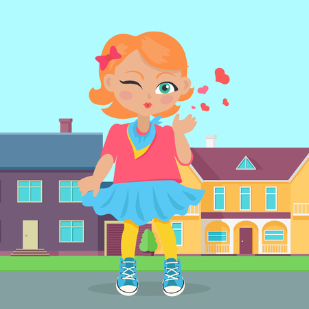 Young girl sent air kiss on sreet. Little cartoon lady sent kisses. I love you, first date, Valentines Day. School girl give a wink. Romantic toddler. Vector illustration in flat style