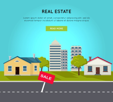 Real estate vector web banner in flat style. Road, cottage houses , living block, skyscraper, trees and lawn on blue background. Illustration for real estate company advertising, housing concepts.