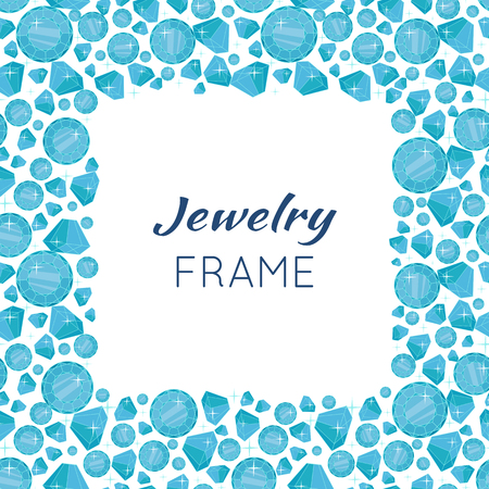 gemstone: Jewelry square frame with space for text. Square frame made of blue shiny diamonds. Blue shiny diamonds on on white background. Diamond decoration. Vector illustration in flat.