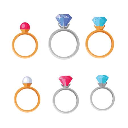 platinum: Jewelry Set of rings with gems of different colors isolated on white. Best wedding and engagement rings editable for your design. Luxury diamond rings collection. Jewels concept. Vector illustration