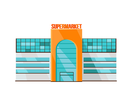 shopping mall: Shopping mall web page template. Flat design. Commercial building concept illustration for web design, banners. Shop, shopping center, mall, supermarket, business center on township background.