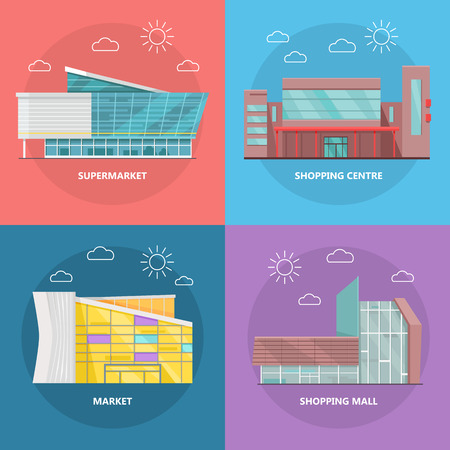 business center: Supermarket icons set. Flat design. Modern commercial building icons collection for web design, app pictogram, banners. Shop, shopping center, mall, business center on color background. Illustration