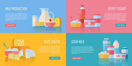 Different traditional dairy products from milk on color background. Milk production, berry yogurt, best cheese, sour milk banners. Assortment of dairy products. Farm food. Dairy website template