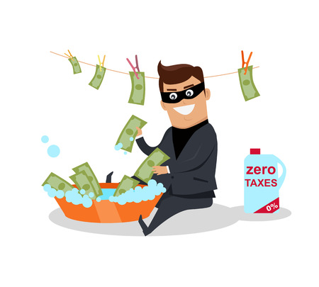 laundering: Money laundering concept vector. Flat design. Financial crime, tax evasion, money laundering, political corruption illustration. Man in a business suit, in mask washes the money in bowl with water.