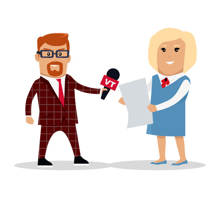 journalistic: Media workers male and female character vector. Flat style design. TV reporter, journalist illustration. Live broadcast, breaking news concept. Journalistic profession. Isolated on white background.