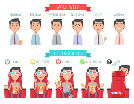 Man during work week. Male face at Monday, Tuesday, Wednesday, Thursday, Friday, Sunday. Cinemaddict. Boy with popcorn at drama, detective, comedy, adventure horror Vector illustration at flat style Illustration