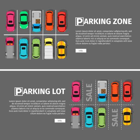 City parkeren vector web banner. Platte stijl. Korte parkeerplaatsen. Groot aantal auto's in een drukke parkeerplaats. Stedelijke infrastructuur en auto boom. Parkeerplaats en parkeerplaats
