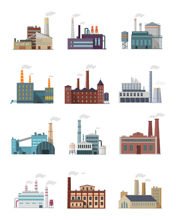 kwaśne deszcze: Set of industry manufactory building icons. Factories producing oil and gas, metals and rubber, energy and power. Destroying nature. Collection of eco friendly factories. Vector illustration