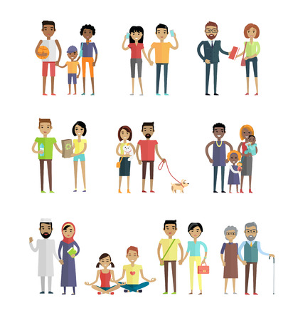 personages: Smiling people characters set. Men and women, boys and girls in various poses with different objects in hands. Smiling young personages in flat design isolated on white background. Vector illustration