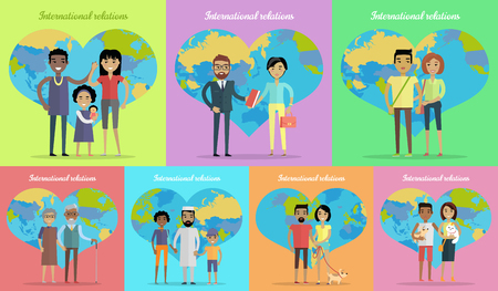 interracial: International relations banners set. People on background of globe in heart shape. Interracial family with child. International friendship. Mixed cheerful family. Vector illustration in flat style.