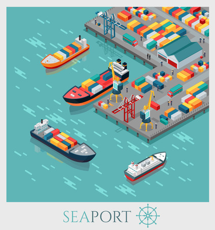sea freight: Isometric commercial sea port. Cargo sea port, container terminal, sea freight transportation, global transportation, cargo ships in harbor, unloading of cargo containers from container carrier. Illustration