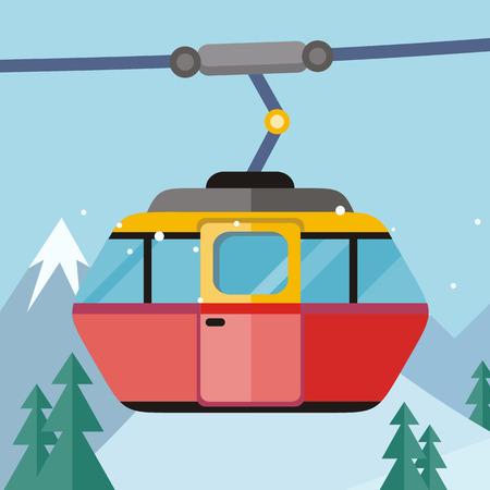 Drahtseilbahn-Vektorillustration. Flaches Design. Fahren Sie für Leutetransport auf Drahtseilbahn, Winterberglandschaft im Hintergrund mit einem Taxi. Unterhaltungen in der kalten Jahreszeit und Aktivitäten im Freien. Für Skigebietsanzeige Vektorgrafik