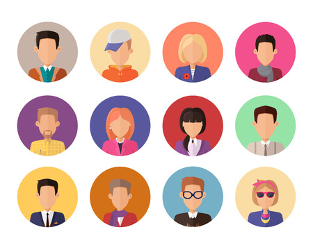 features: Set of portraits for avatars or userpics in different clothes and hairstyles in flat design. People icons set without facial features. Cartoon man and women character collection. Vector illustration. Illustration