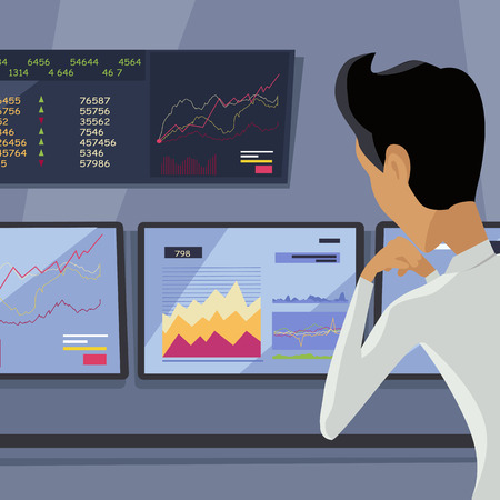 attentions: Modern online trading on stock exchange concept. Flat style design Monitoring of value indexes. Online trading technology. Brokerage trading on the web vector. Flat style design. Businessman at work.