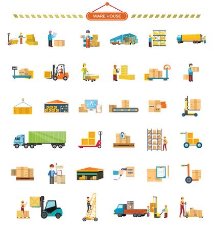 Conjunto de iconos de almacén. Diseño plano. Almacén, ascensor, contenedor, camión, escalera, cinta transportadora, peso, hangar, cuadro de paquete de los trabajadores pictogramas mensajero de mensajería para servicios de carga y entrega Ilustración de vector