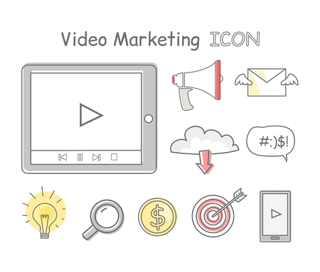 video icons: Video marketing icons isolated on white. Collection of video marketing icons. Items to promote products and services based on video. Online video, internet technology and media social marketing Illustration