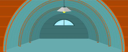 storage room: Warehouse hangar building. Flat design. Empty storage room. Spacious storage space for freight and parcels. Rental and sale of commercial real estate. Illustrations for delivery companies ad