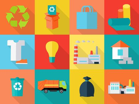 segregation: Waste recycling icons sign symbols. Sorting waste as paper, glass, plastic, cloth, rubber. Environmental protection. Garbage destroying. Eco plants and fabrics. Flat style design. Vector illustration Illustration