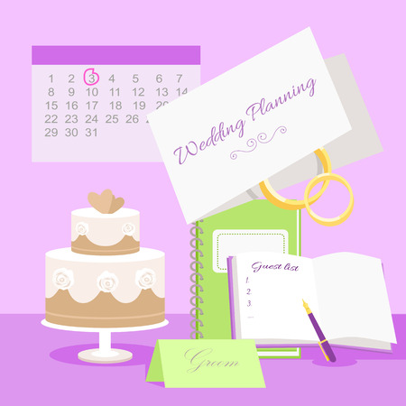 cake tier: Wedding planning vector concept. Illustration with wedding tier cake, notepads for plans and guest list, invitation to marriage ceremony, rings and calendar with day highlighted red. Pink background