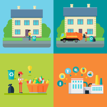 Set of waste recycling concept vectors. Flat design. Stages of processing trash, from throw-out, transportation, sorting and recycle. Environmental protection, pollution prevention, waste recycling 版權商用圖片 - 67684390