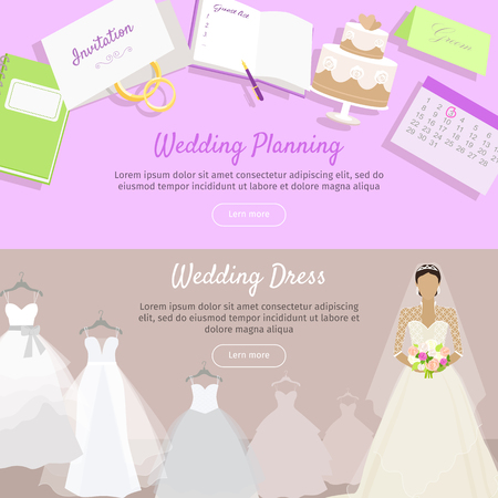 getting ready: Wedding planning and wedding dress web banner. Preparation for wedding day. Getting ready to marriage ceremony. Planning everything ahead. Choosing the date, dress, place, decoration, menu. Vector