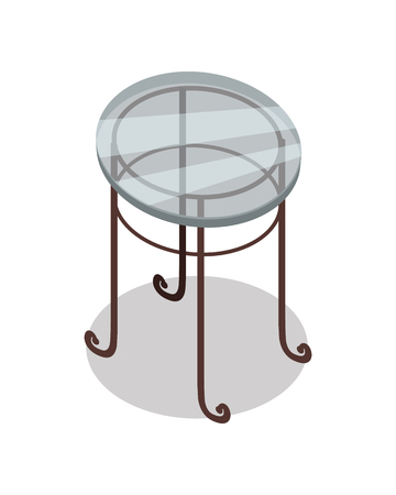 classic furniture: Round glass tea table vector in isometric projection. Classic furniture illustration for stores advertising, icons, infographics, logo, web and games environment design. Isolated on white background