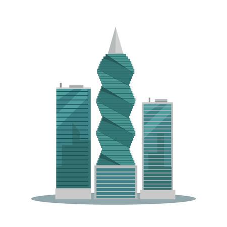 パナマ シティの建物はベクトル イラストです。パナマの首都で高層ビル。フラット スタイル設計の近代建築のコンセプト。F F 革命タワー。白い背