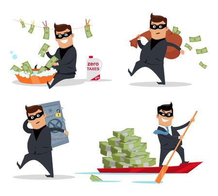 Conjunto de dinero robando conceptos de vectores. Diseño plano. delitos financieros, fraude fiscal, blanqueo de dinero, la corrupción ilustración. El hombre en un traje de negocios, en el lavado de la máscara, el robo, navegar con el dinero.