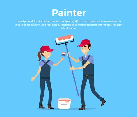Painter concept vector. Flat design. Smiling couple, man and woman in protective clothing with brush and roller standing near a bucket of red paint. Repair room, housewarming, new home illustration. Illustration